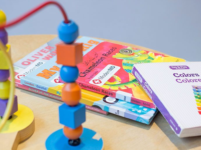 waiting room toys and magazines
